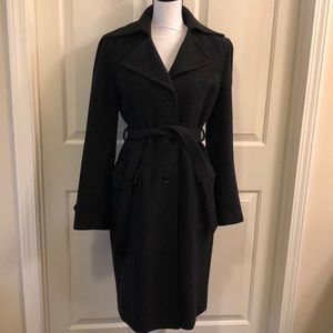 DKNY Charcoal Wool Trench Coat